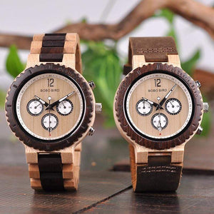 Boho Beach Hut Men's Wooden watches Wood Band BOBO BIRD Two-Tone Wooden Watch with Date Display