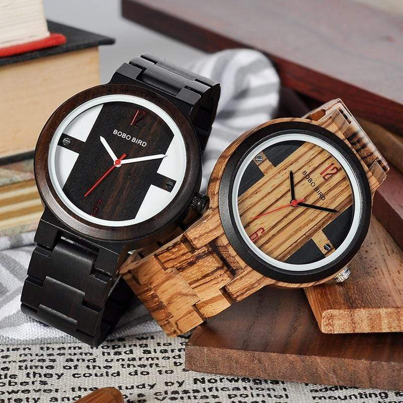 BOBO BIRD Zebra Ebony Wooden Watch