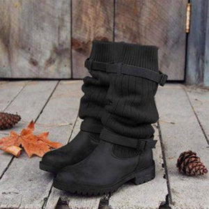 Boho Beach Hut Mid-Calf Boots, Boots, Winter Boots, Buckle Boots Black / 4 Boho Mid Calf Sock Boots