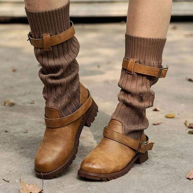 Boho Beach Hut Mid-Calf Boots, Boots, Winter Boots, Buckle Boots Boho Mid Calf Sock Boots