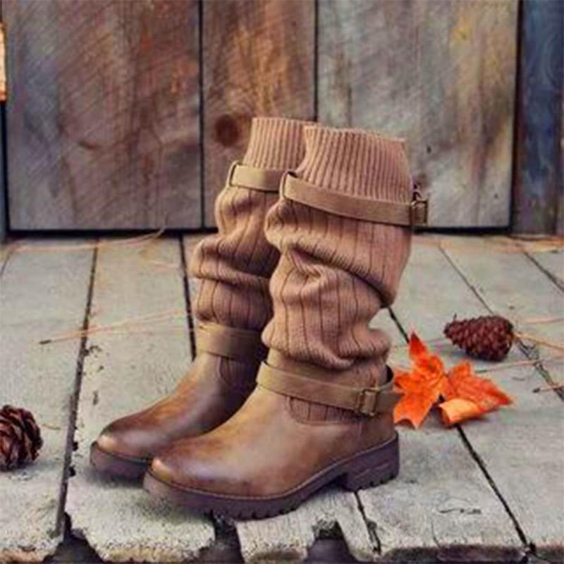 Boho Beach Hut Mid-Calf Boots, Boots, Winter Boots, Buckle Boots Brown / 4 Boho Mid Calf Sock Boots