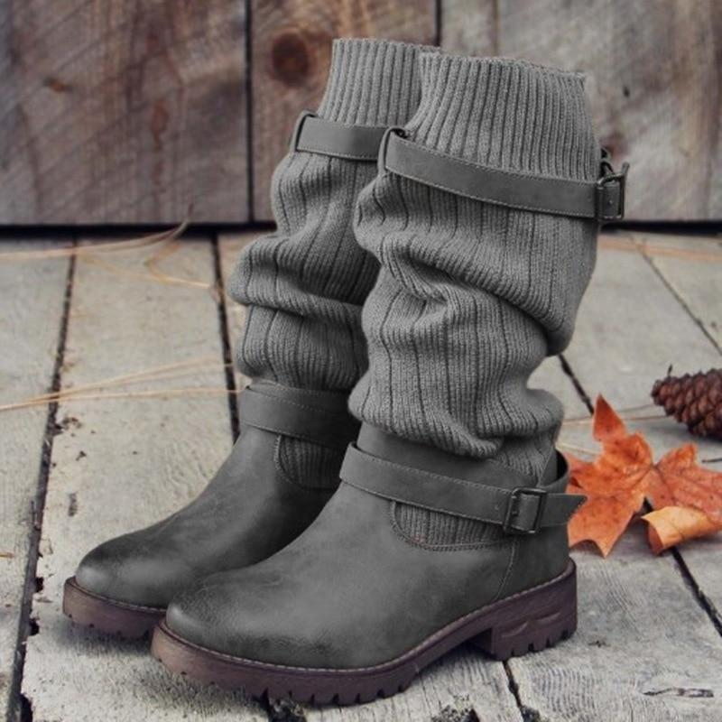 Boho Beach Hut Mid-Calf Boots, Boots, Winter Boots, Buckle Boots Gray / 4 Boho Mid Calf Sock Boots