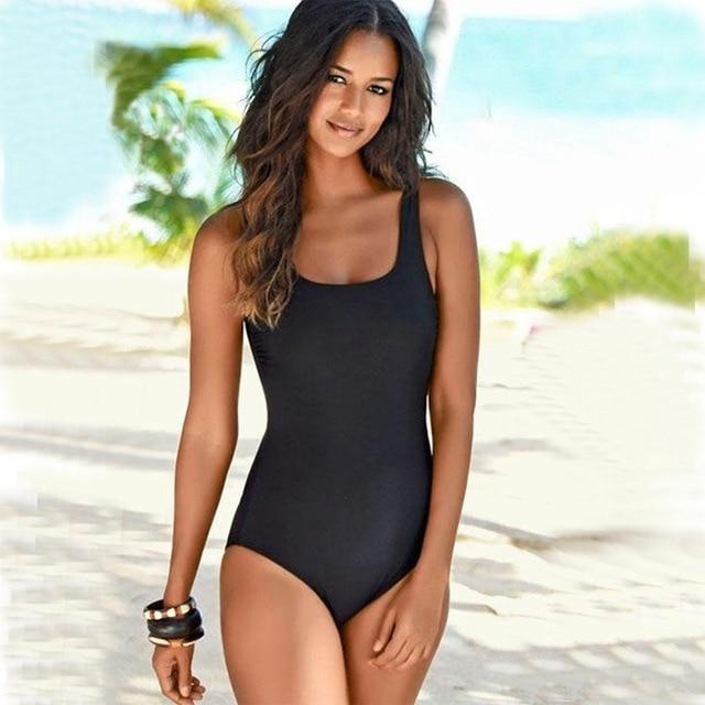 Boho Beach Hut One Piece Swimsuit, Swimsuit, Swimwear Black / M One Piece Criss Cross Back Swimsuit