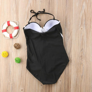 Boho Beach Hut One Piece Swimsuit, Swimsuit, Swimwear Black / S Black & White One Piece Swimsuit