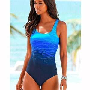 Boho Beach Hut One Piece Swimsuit, Swimsuit, Swimwear Blue / M One Piece Criss Cross Back Swimsuit