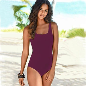 Boho Beach Hut One Piece Swimsuit, Swimsuit, Swimwear Burgundy / M One Piece Criss Cross Back Swimsuit