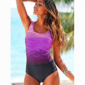 Boho Beach Hut One Piece Swimsuit, Swimsuit, Swimwear Purple / M One Piece Criss Cross Back Swimsuit