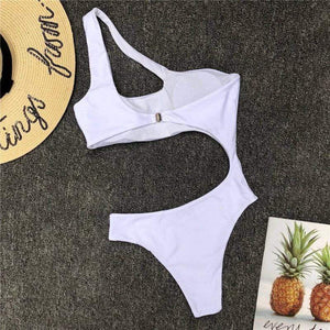 High Cut Hollow Out One Piece Swimsuit