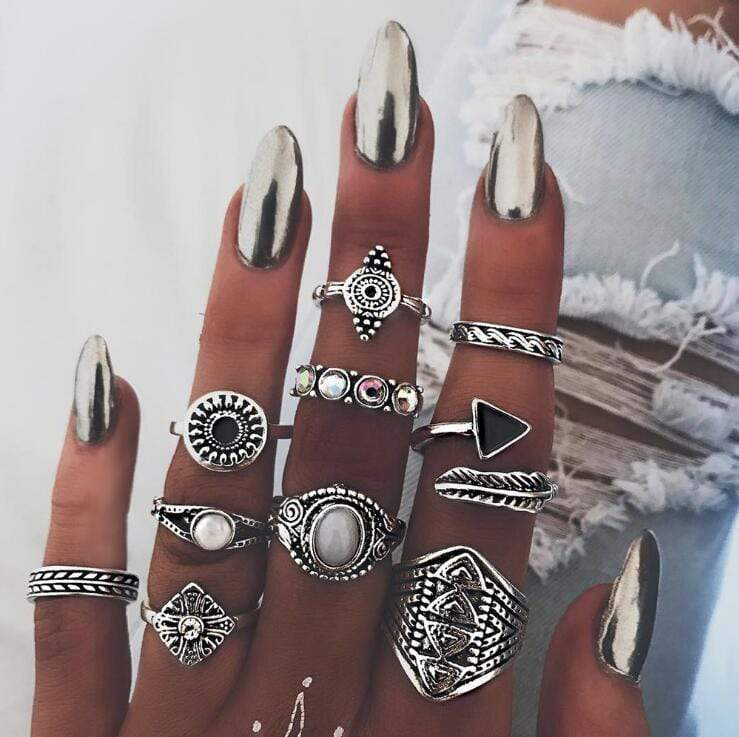 Boho Beach Hut Rings Gold 10pc Vintage Opal Ring Set