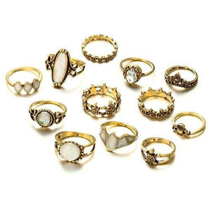 Boho Beach Hut Rings Gold / Variety Vintage Antique 12pc Ring Set