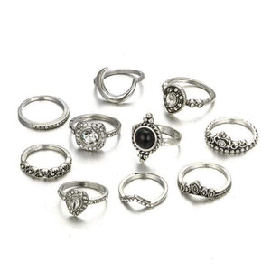 Boho Beach Hut Rings Silver 10pc Bohemian Black Ring Set