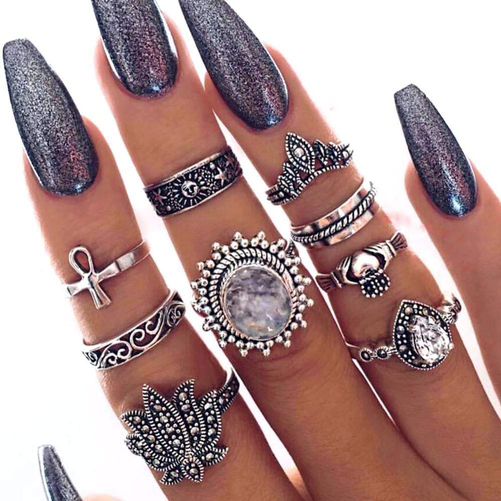 Boho Beach Hut Rings Silver / Assortment 9 Pc Bohemian Style Ring Set