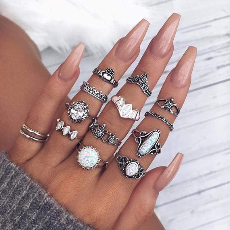 Boho Beach Hut Rings Silver / Variety Vintage Antique 12pc Ring Set
