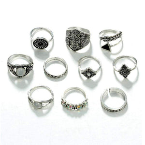 Boho Beach Hut Rings Sliver 10pc Vintage Opal Ring Set