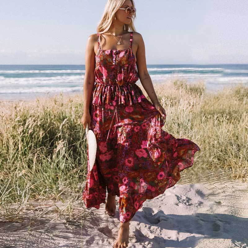 Boho Beach Hut Skirt, Top Set / S Boho Floral Skirt & Top Collection