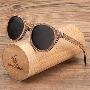 Boho Beach Hut Sunglasses Unisex Gray BOBO BIRD Wooden Sunglasses- Polarized Lenses Cat Eye Frames