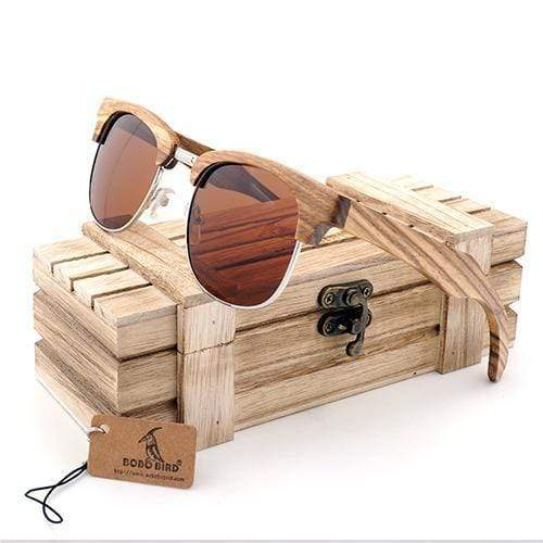 Boho Beach Hut Sunglasses Unisex Tan BOBO BIRD Zebra Wood Sunglasses Semi Frame Polarized Lenses