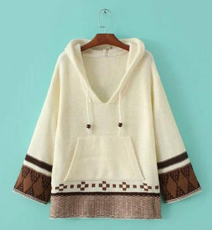 Boho Beach Hut Sweater Beige / S Boho Hippie Pullover Sweater