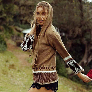 Boho Beach Hut Sweater Brown / S Boho Hippie Pullover Sweater