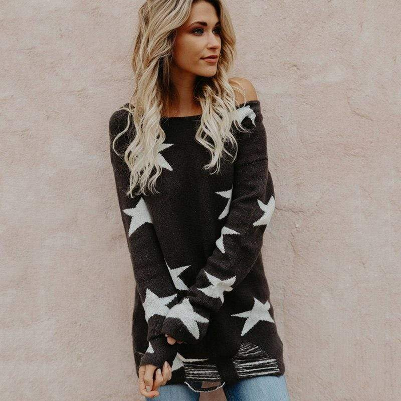 Boho Beach Hut Sweater S / Black Star Printed Knit Sweater