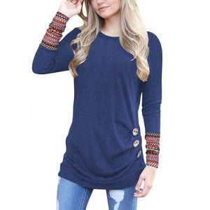 Boho Beach Hut T-Shirts Blue / S Casual Long Sleeve Patchwork Top