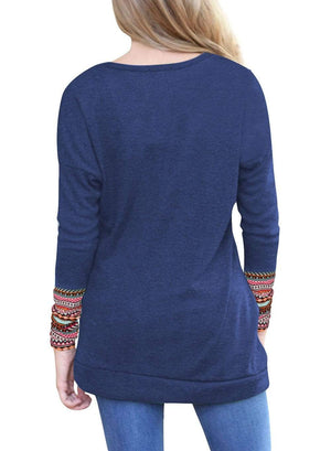 Boho Beach Hut T-Shirts Gray / S Casual Long Sleeve Patchwork Top