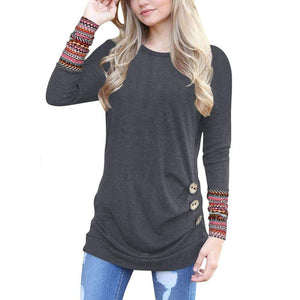 Casual Long Sleeve Patchwork Top