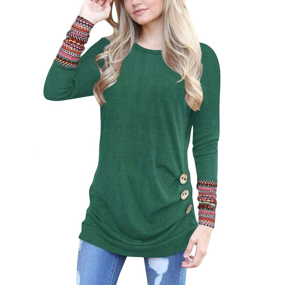 Boho Beach Hut T-Shirts Green / S Casual Long Sleeve Patchwork Top