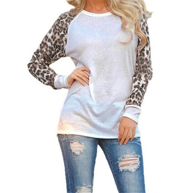 Boho Beach Hut T-Shirts, Long Sleeve Shirt White / S Leopard Sleeves Casual Top