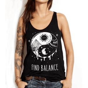 Boho Beach Hut Tank Tops Black / S Find Balance Tank