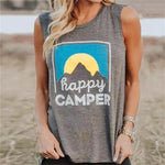 Boho Beach Hut Tank Tops Gray / S Happy Camper Tank