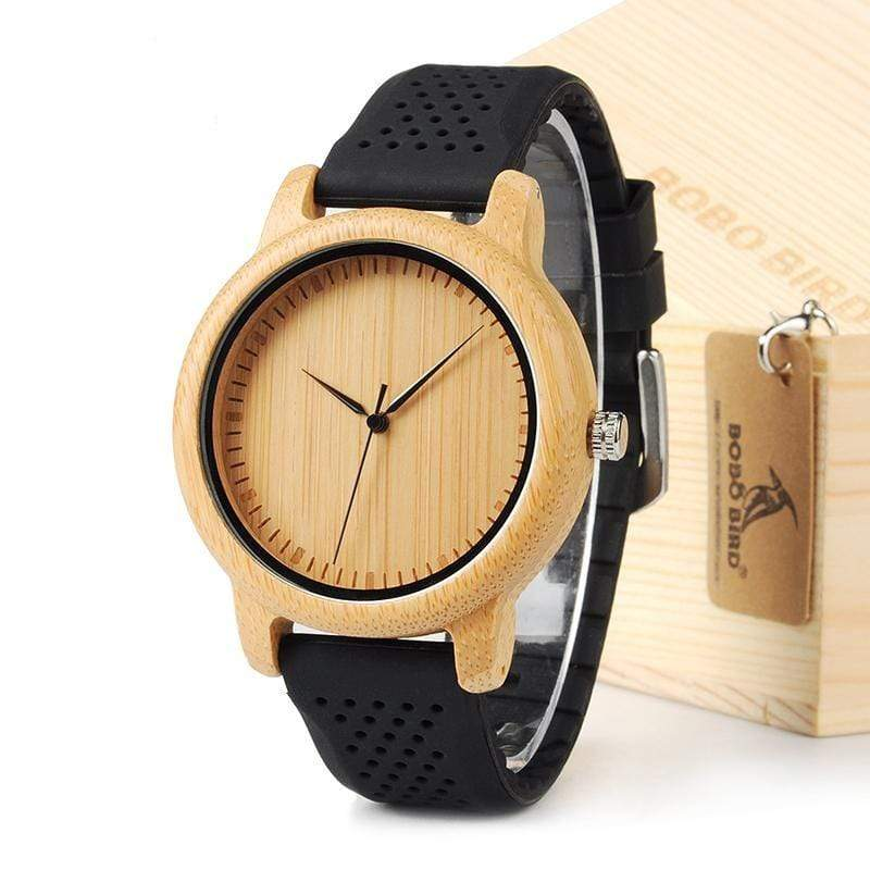Boho Beach Hut Watches Black BOBO BIRD Natural Bamboo Wooden Watch Silicone Band