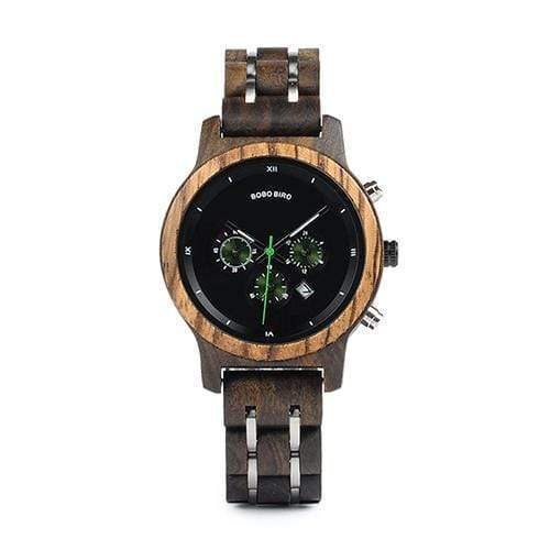 Boho Beach Hut Watches Unisex Black 40mm BOBO BIRD Wooden Watches Wood and Steel Combined