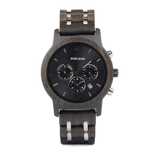Boho Beach Hut Watches Unisex Black 43mm BOBO BIRD Wooden Watches Wood and Steel Combined