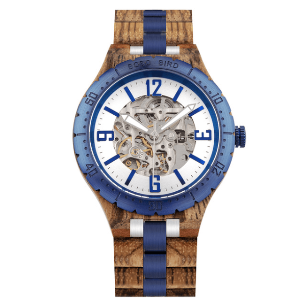 Boho Beach Hut Watches Unisex Blue / Adjustable BOBO BIRD Wooden Quartz Watch with Steel Fashion Dial