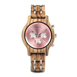 Boho Beach Hut Watches Unisex Pink 40mm BOBO BIRD Wooden Watches Wood and Steel Combined