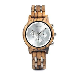 Boho Beach Hut Watches Unisex Silver 40mm BOBO BIRD Wooden Watches Wood and Steel Combined