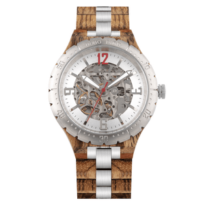 Boho Beach Hut Watches Unisex Silver / Adjustable BOBO BIRD Wooden Quartz Watch with Steel Fashion Dial