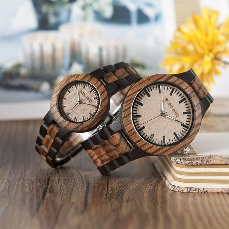 Boho Beach Hut Watches Unisex Womens BOBO BIRD Zebra Ebony Wooden Watches Two-Tone Quartz Lovers