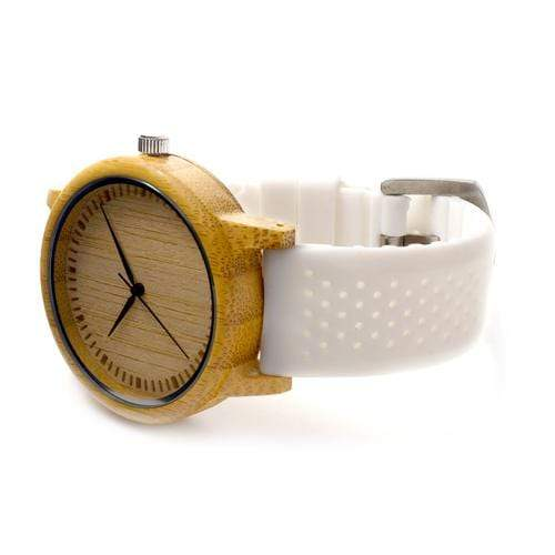 Boho Beach Hut Watches White BOBO BIRD Natural Bamboo Wooden Watch Silicone Band