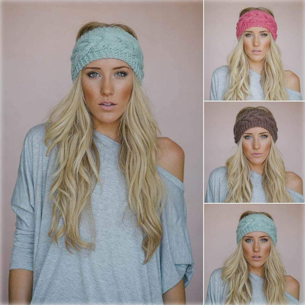 Boho Beach Hut Women's Beanies Black Wide Knit Wool Headband