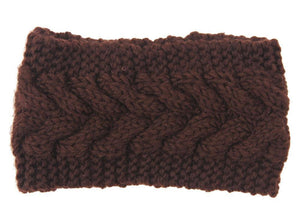 Boho Beach Hut Women's Beanies Coffee Wide Knit Wool Headband