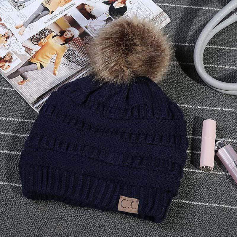 Boho Beach Hut Women's Beanies Navy Blue Fashion Knitted Beanies with Fur