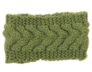Boho Beach Hut Women's Beanies Navy Green Wide Knit Wool Headband