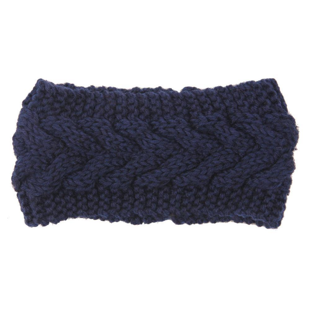 Boho Beach Hut Women's Beanies Navy Wide Knit Wool Headband