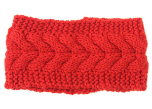 Boho Beach Hut Women's Beanies Red Wide Knit Wool Headband