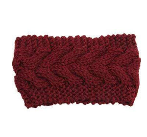 Boho Beach Hut Women's Beanies Wine Wide Knit Wool Headband