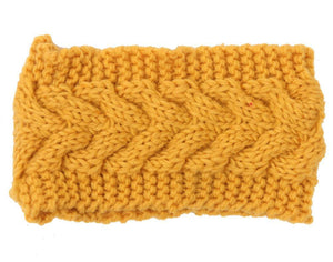 Boho Beach Hut Women's Beanies Yellow Wide Knit Wool Headband