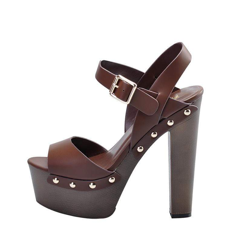 Boho Beach Hut Women's Footwear 5 / Brown Peep Toe Heels with Rivets