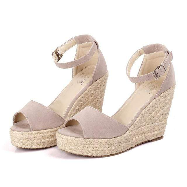Boho Beach Hut Women's Footwear Black / 5 Peep Toe Wedges- 4 Colors
